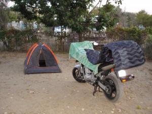 Campeggio in moto